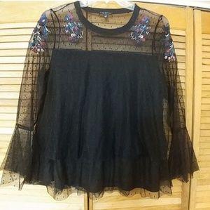 Lane Bryant lace detail black blouse